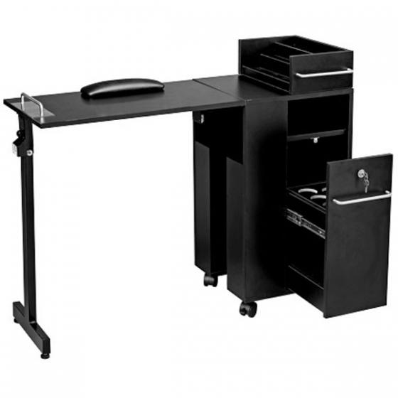Folding Manicure Table Black Or Wood Salon Furniture