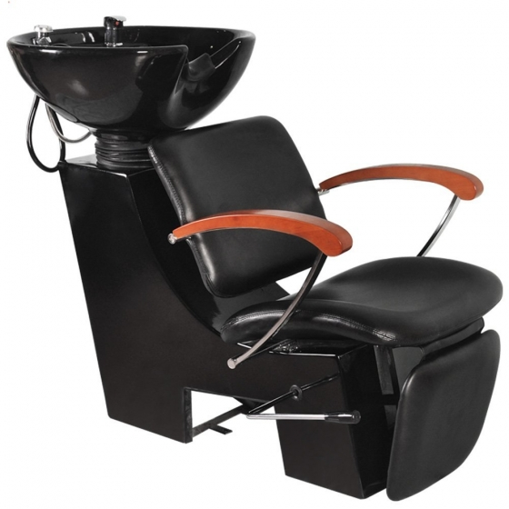 Shampoo unit with wooden arms salon furniture toronto for Salon furniture canada