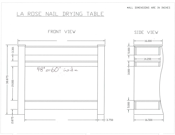 Paris Nail Dryer Table Salon Furniture Toronto Canada Usf